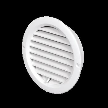 Kulatá mřížka VP MV 150 bVR s regulací a přírubou - bílá